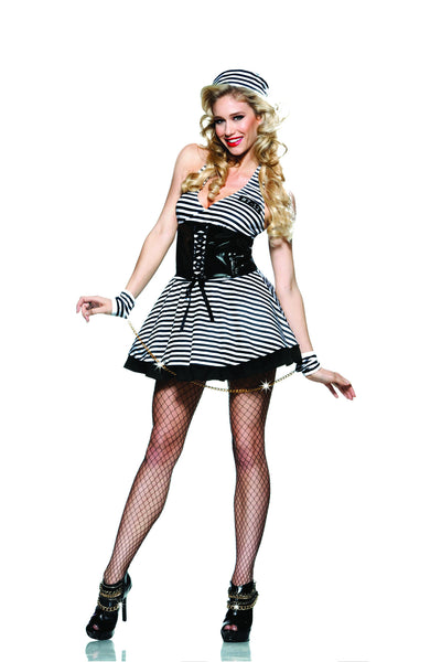 4 piece jailbird costume features stretch microfiber halter stripe over black layer dress