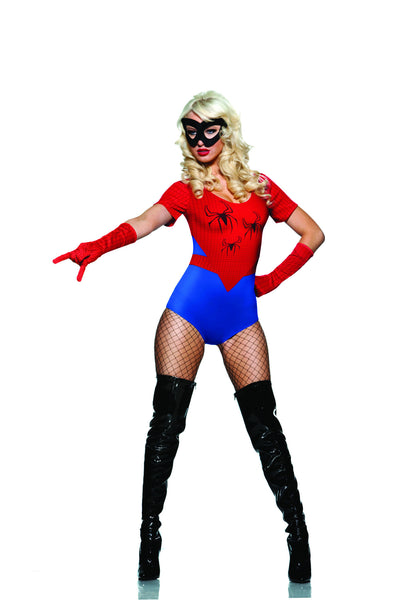3 piece spider costume features microfiber boyshort bodysuit with short sleeves