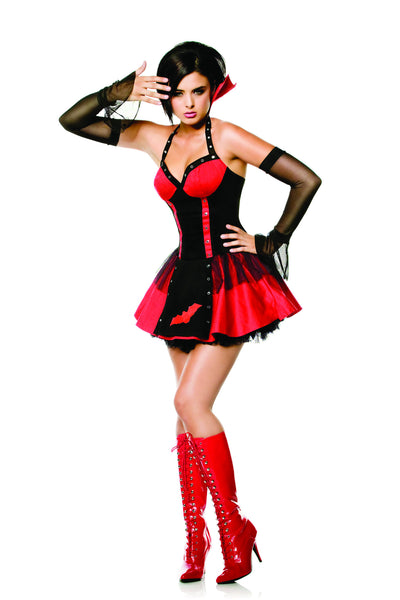 2 piece vampire costume features strech cotton halter dress with grommets