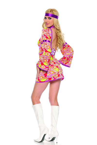 3 piece hippie costume features floral print stretch micrfiber dress with bell sleeves