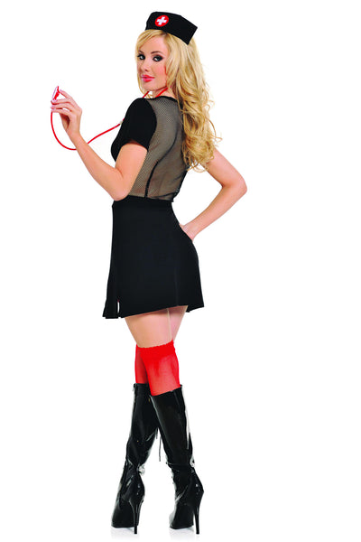 4 piece nurse costume features stretch microfiber two-way zipper dress