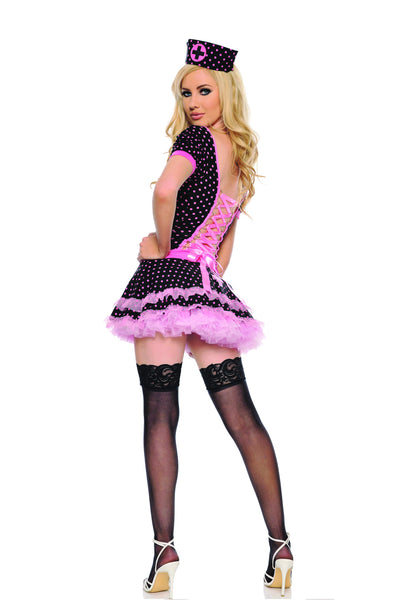 3 piece nurse costume features adjustable back ribbon lace-up stretch microfiber polka dot dress