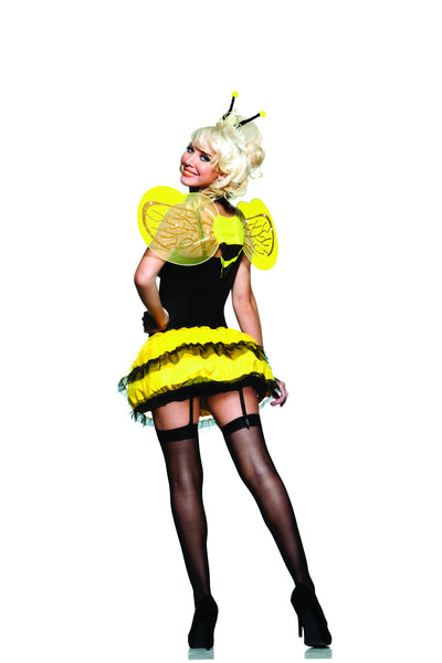 5 piece bee costume features 4-way stretch microfiber underwire cup bodysuit with satin bow and removable garters.