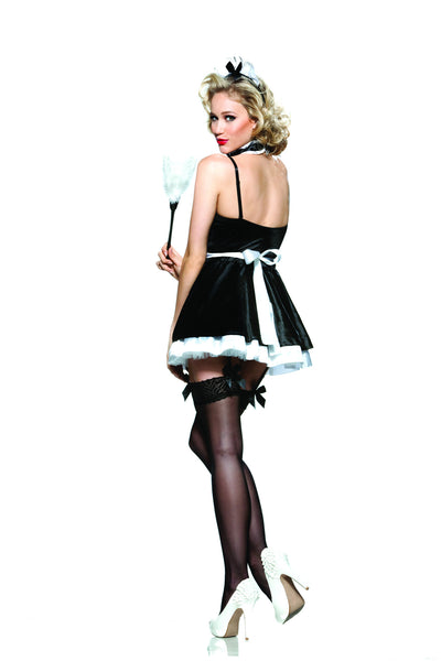 6 piece French Maid Costume features 4-way stretch micrfiber bodysuit