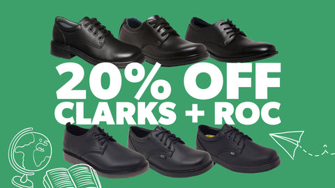 An image advertising 20 percent off with the different styles of Roc and Clarks black leather school shoes available appears on a green background.