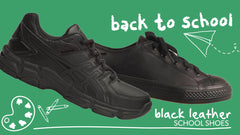 Two pairs of black back to school shoes appear on a green background.