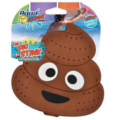 A poo emoticon with a smile and two lopsided eyes water soaker toy attached to its packaging