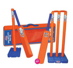 An orange and blue set of cricket wickets, bats and ball with carry case sit on a neutral background
