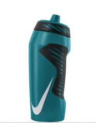 A turqouise green Nike waterbottle with large white Nike tick logo sits on a white background