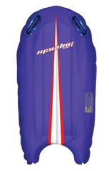 A blue, blow up surf mat in an arc type shape with red and white stripe through the middle