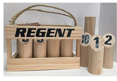 A set of Regent number throw wooden poles sit in a wooden carry box with string handle.