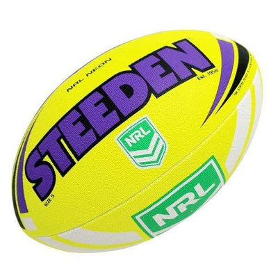 STEEDEN NRL NEON PURPLE/YELLOW FOOTBALL SIZE 5 SPORTSPOWER BUNDABERG