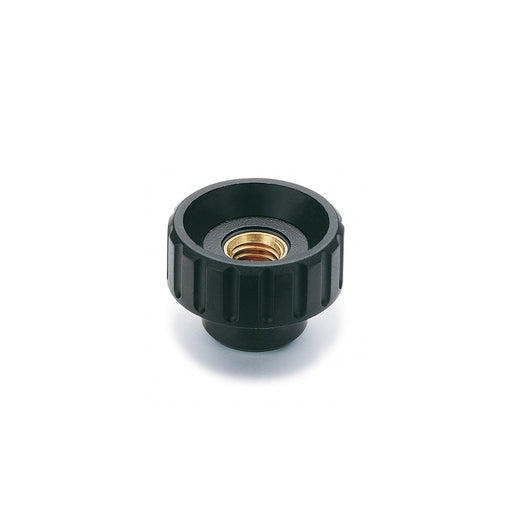 6636 BT.25 FP-M8 Elesa Fluted Grip Knob w/ Tapped Through Hole Threaded M8