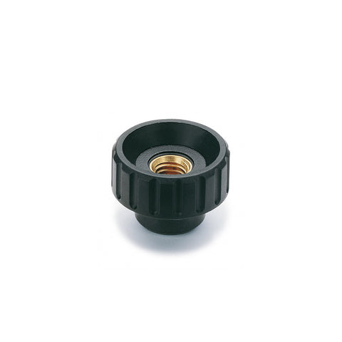 6730 - BT.32 FP-M6 - Elesa Fluted Grip Knob w/ Tapped Through Hole Threaded M6