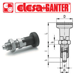 GN.35523 - GN 617.1-8-A-NI - Elesa Ganter Indexing Plunger with Technopolymer Knob, without Locking Nut - Threaded M16x1.5