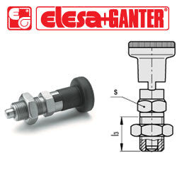 GN.35534 - GN 617.1-10-AK-NI - Elesa Ganter Indexing Plunger with Technopolymer Knob and Locking Nut - Threaded M20x1.5