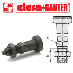 GN.35502 - GN 617.1-5-AK - Elesa Ganter Indexing Plunger with Knob and Locking Nut - Threaded M10x1