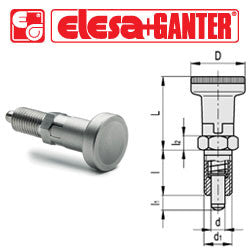 GN.35535 - GN 617.1-10-AN-NI - Elesa Ganter Indexing Plunger with AISI 303 Stainless Steel Knob, without Locking Nut - Threaded M20x1.5