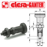 GN.35101 - GN 617-5-A - Ganter Indexing Plunger with Knob, without Locking Nut - Threaded M20x1.5