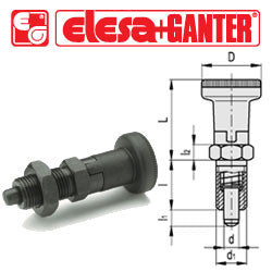 GN.35121 - GN 617-8-A - Elesa Ganter Indexing Plunger with Knob, without Locking Nut - Threaded M16x1.5