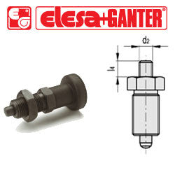 GN.35106 - GN 617-5-G - Ganter Indexing Plunger without Knob, without Locking Nut - Threaded M10x1