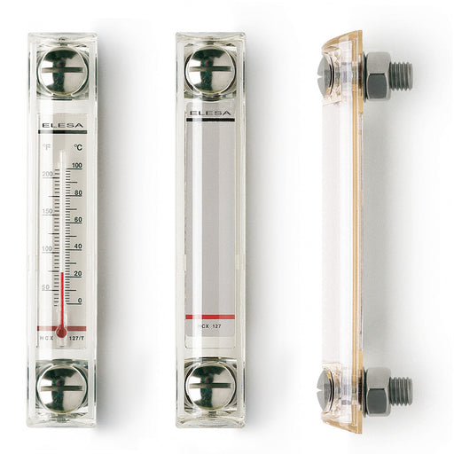 HCX.254/T-SST-M12 11368 Elesa INOX Stainless Steel Column Level Indicator with Thermometer M12 Screws