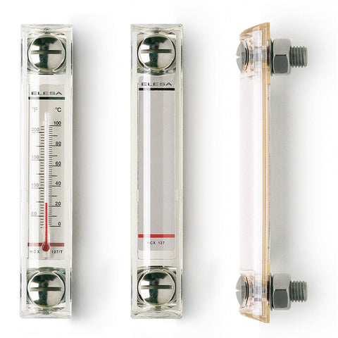 HCX.254/T-SST-M12 - 11368 - Elesa INOX Stainless Steel Column Level Indicator with Thermometer - M12 Screws