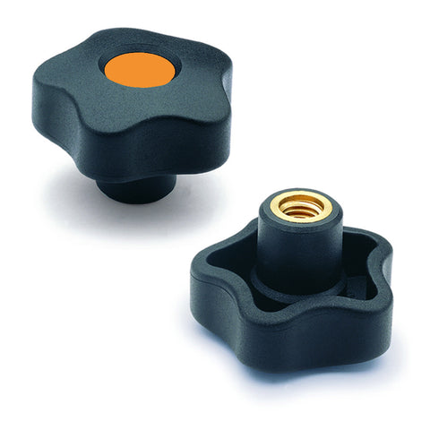 "969841-C2 - VCT.32 B-1/4-C2  - Elesa Orange Lobe Knob w/ Brass Boss and Set Screw for 1/4"" Shaft"