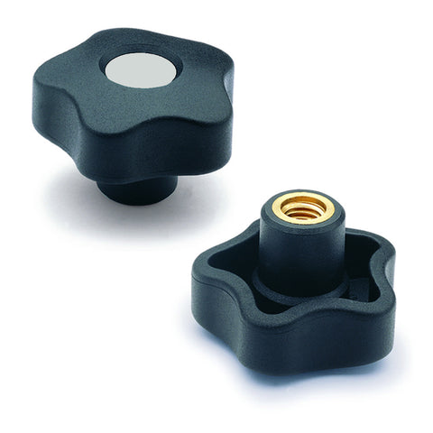 969844-C3 - VCT.32 B-1/4-20-C3  - Elesa Gray Lobe Knob w/ Brass Boss Threaded 1/4-20