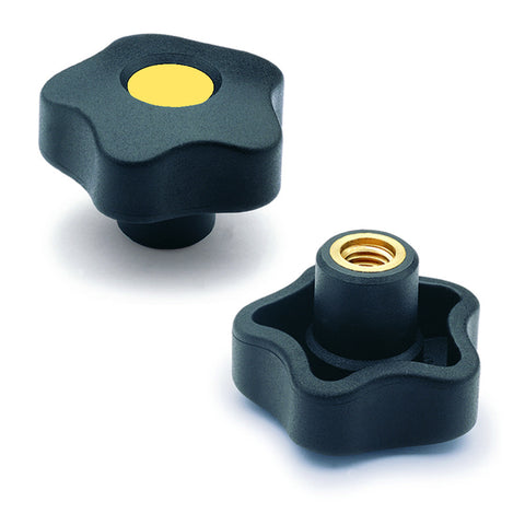 970013-C4 - VCT.63 B-3/8-16-C4  - Elesa Yellow Lobe Knob w/ Brass Boss Threaded 3/8-16