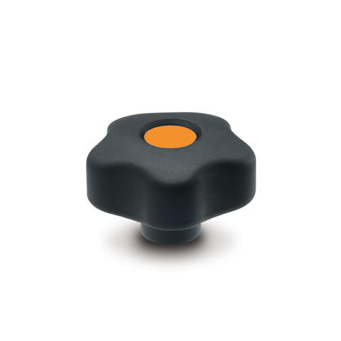 169894-C2 - VCT.43 B-M8-SOFT-C2 - Elesa Orange SOFT Lobe Knob w/ Brass Boss Threaded M8