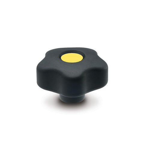 9169954-C4 - VCT.53 B-3/8-16-SOFT-C4  - Elesa Yellow SOFT Lobe Knob w/ Brass Boss Threaded 3/8-16