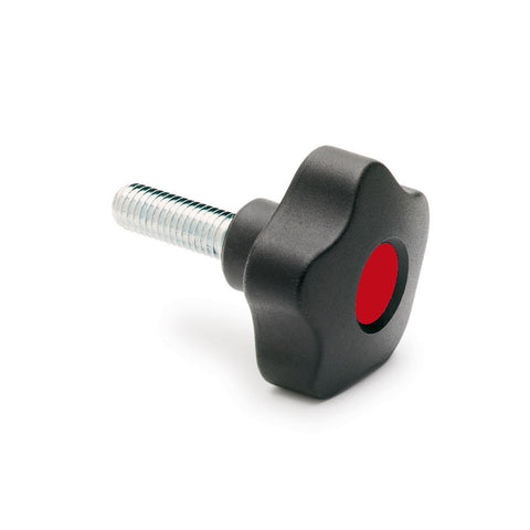 970081-C6 VCT.74 p-3/8-16x1-C6  Elesa Red Lobe Knob w/ Steel Threaded Stud  3/8-16 x 1""