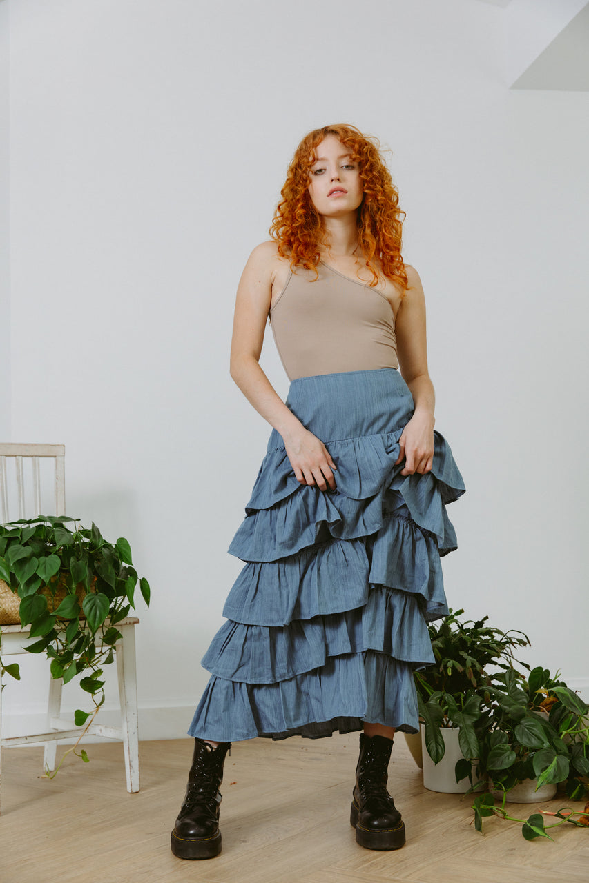 Palace Maxi Ruffle Skirt Denim