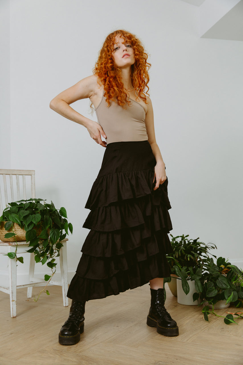 Palace Maxi Ruffle Skirt Black