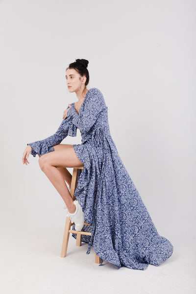 Hortencia Indigo Block Print Maxi Dress