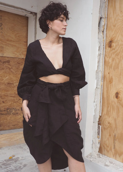 Cocoon Black Linen Skirt