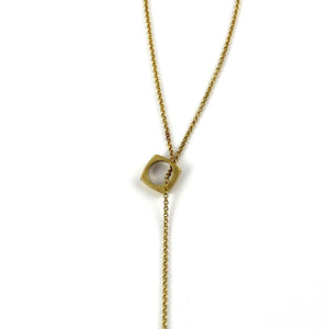 Ball & Chain Lariat Necklace - Brass