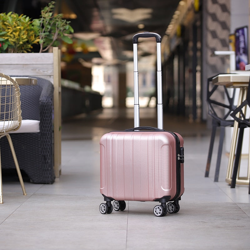 Fashion 17 inch caster small suitcase ladies 14 inch mini Boarding chassis trolley case password suitcase cosmetic box - Trek Wanderer