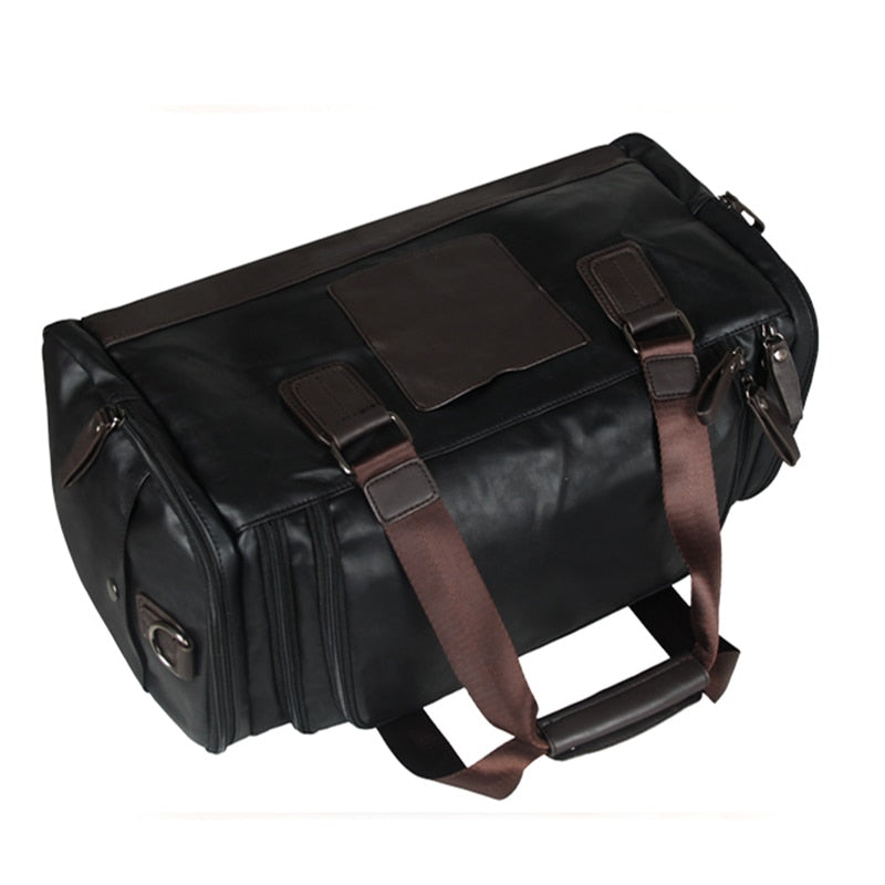 2019 Travel Bag PU Leather Shoulder Handbag Cross body Travelling Large Capacity Tote - Trek Wanderer