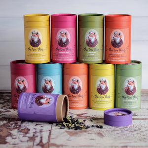 Coloured Cardboard tubes with image of fox drinking tea