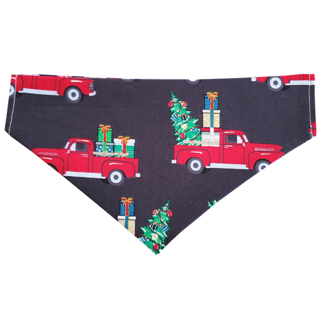 Over the Collar Dog Bandana in Holiday Truck Print