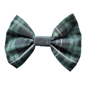Holiday Print Dog Bow Tie in Green Tartan Plaid Print