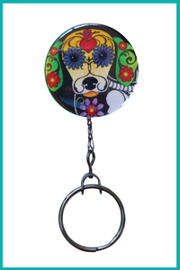 Day of the Dead Dachshund Office ID Badge Reel