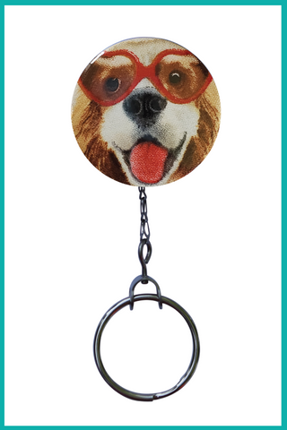 Smiley Dog with Glasses Office ID Badge Reel