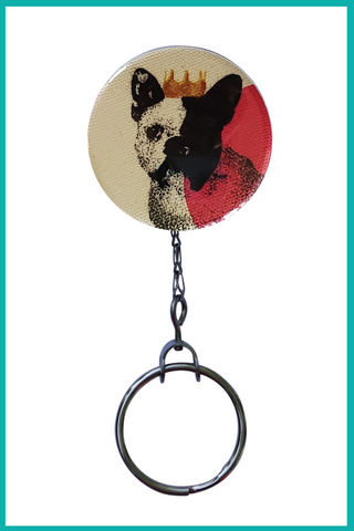 Queen Frenchie Dog Office ID Badge Reel