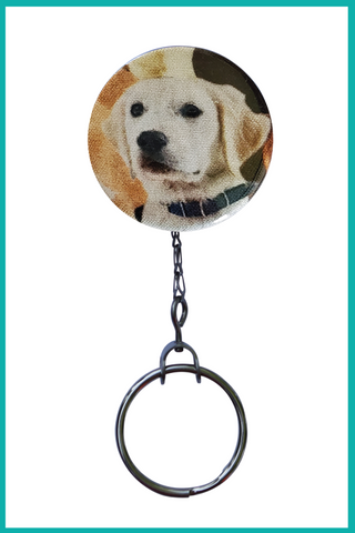White Labrador Office ID Badge Reel