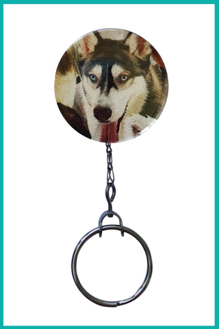 Siberian Husky Office ID Badge Reel