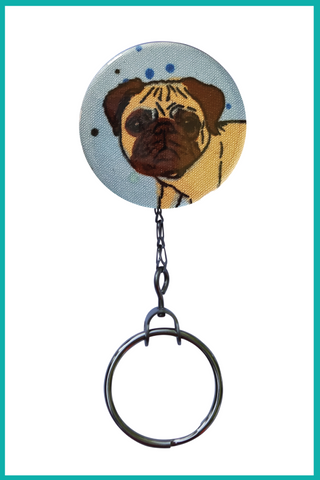 Skater Pug Office ID Badge Reel
