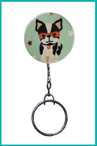 Frenchie Superhero Office ID Badge Reel
